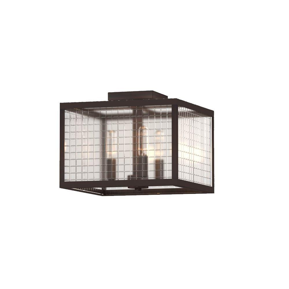 3-Light Oil-Rubbed Bronze Flushmount with Etched Clear Glass Shades