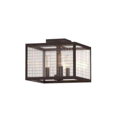 12 in. 3-Light Oil-Rubbed Bronze Flushmount with Etched Clear Glass Shade