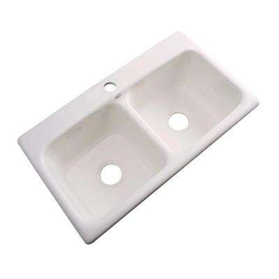 Thermocast bone kitchen sinks kitchen the home depot 1 hole double bowl kitchen sink in workwithnaturefo