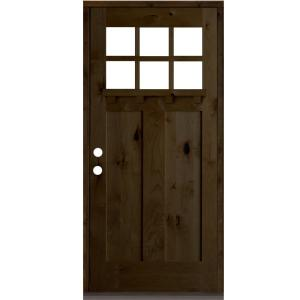 36 in. x 80 in. Craftsman Alder Right Hand 6-Lite Clear Provincial Stain Wood/Dentil Shelf Single Prehung Front Door