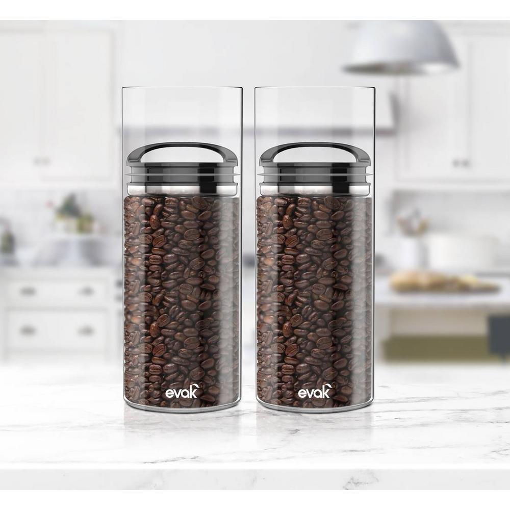 Evak 46 oz. Black Gloss Storage Jar with Compact Handle (2-Pack)