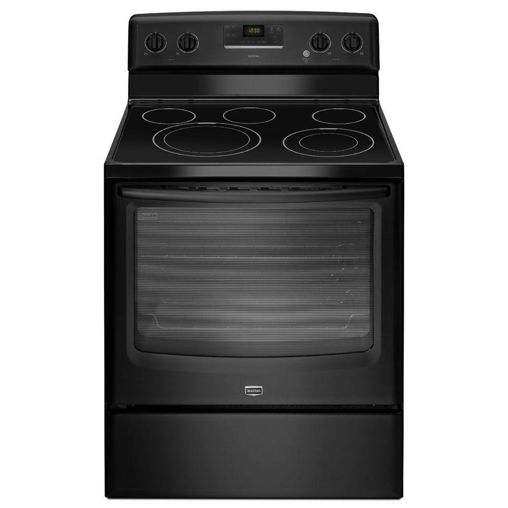Maytag AquaLift 6.2 cu. ft. Electric Range with Self-Cleaning Oven in Black-DISCONTINUED