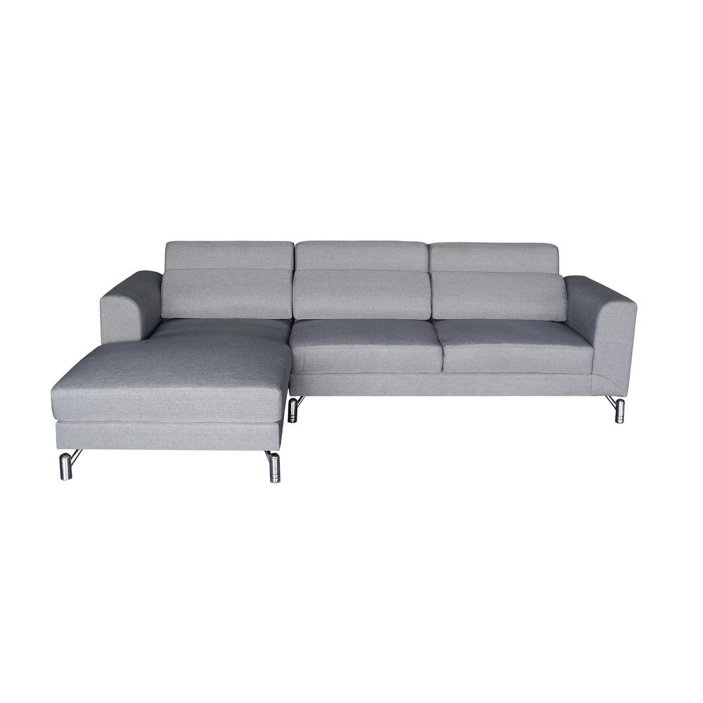 Grey Upholstered Left Facing Sectional Sofa Gray Aria
