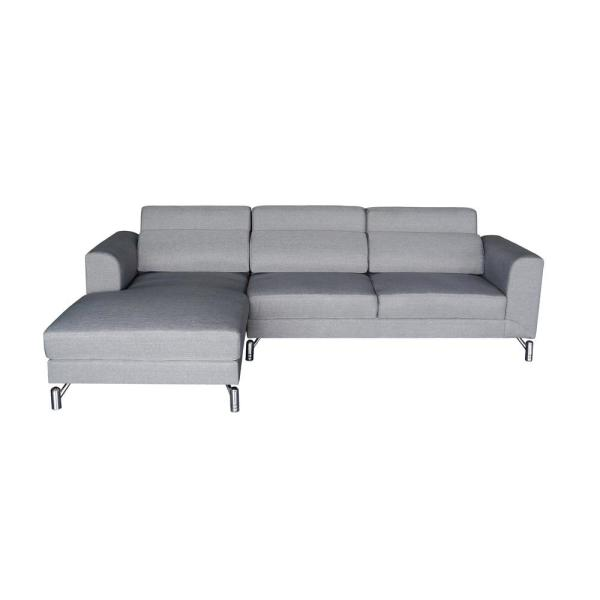 Aria Grey Modern Fabric Upholstered 2-Piece Left Facing Sectional Sofa