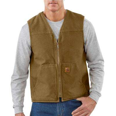 Men's Small Frontier Brown Cotton Rugged Vest Sherpa Lined Sandstone