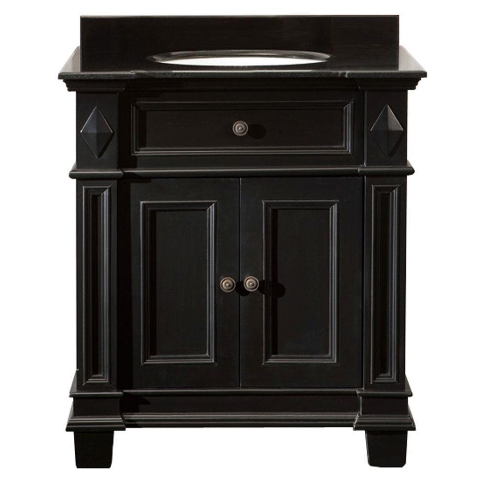 Essex 31 in. W x 21 in. D Single Sink Vanity in Black Antique with Granite Vanity Top in Black