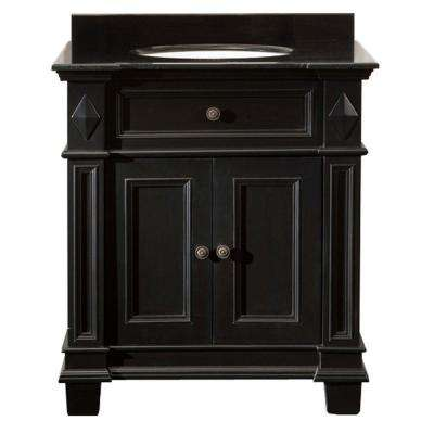 Essex 31 in. Vanity in Black Antique with Granite Vanity Top in Black