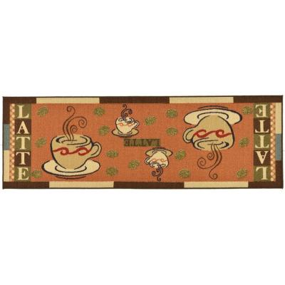 Saras Kitchen Collection Coffee Cups Design Dark Orange 1 ft. 8 in. x 4 ft. 11 in. Kitchen Runner