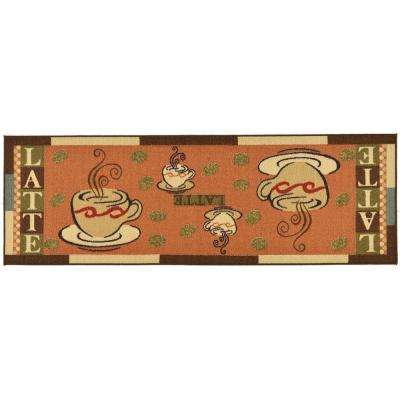 Sara's Kitchen Collection Coffee Cups Design Dark Orange 1 ft. 8 in. x 4 ft. 11 in. Kitchen Runner