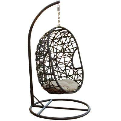 Multi Brown Wicker Patio Swing with Beige Cushion