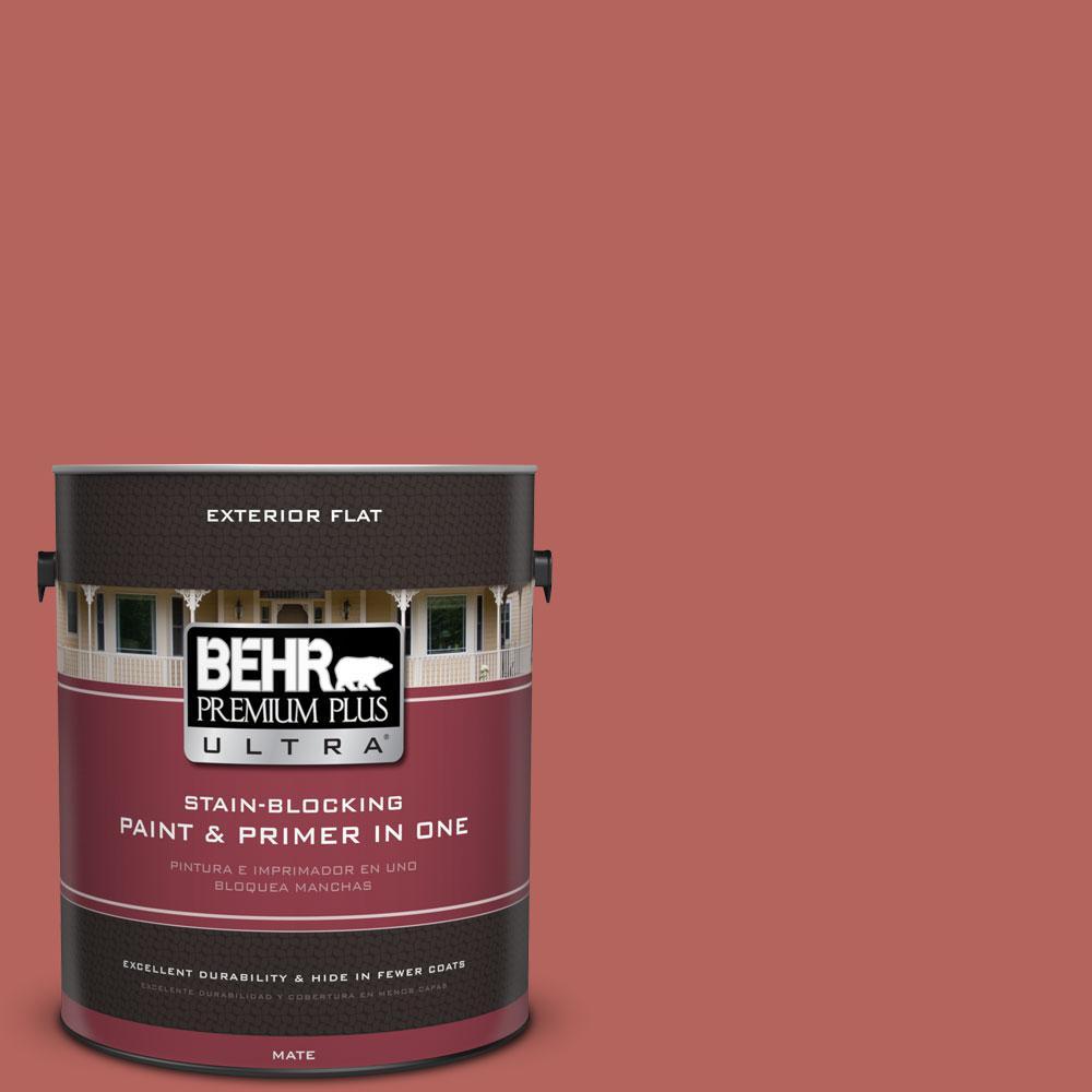 BEHR Premium Plus Ultra 1-gal. #180D-6 Mineral Red Flat Exterior Paint