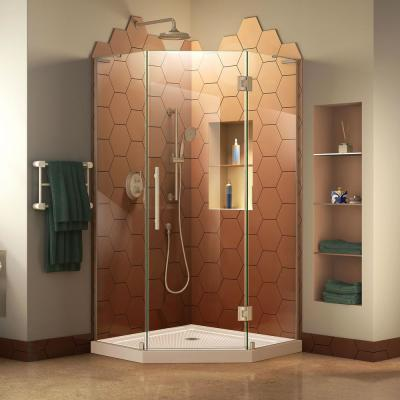 Prism Plus 42 in. x 42 in. x 74.75 in. Semi-Frameless Neo-Angle Hinged Shower Enclosure in Brushed Nickel with Base