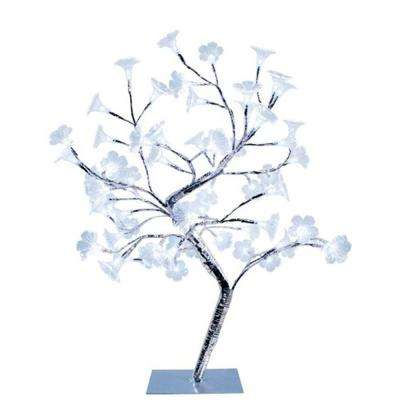 23.62 in. Morning Glory LED Lighted Silver Decorative Tree Lamp