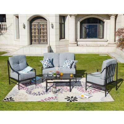 4-Piece Metal Patio Deep Seating Set with Gray Cushions