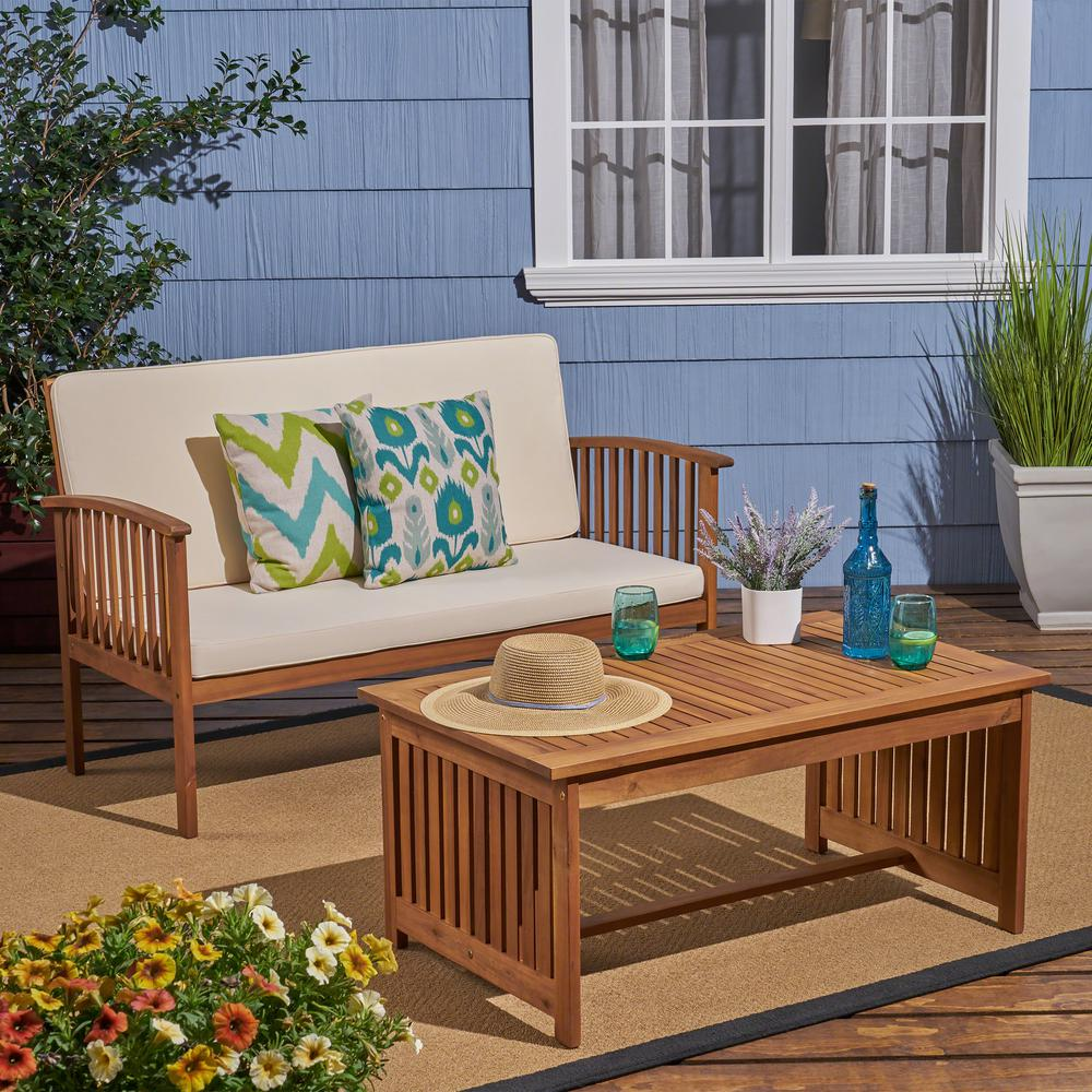 Superb Noble House Carolina Brown 3 Piece Wood Patio Conversation Set With Cream Cushions Unemploymentrelief Wooden Chair Designs For Living Room Unemploymentrelieforg