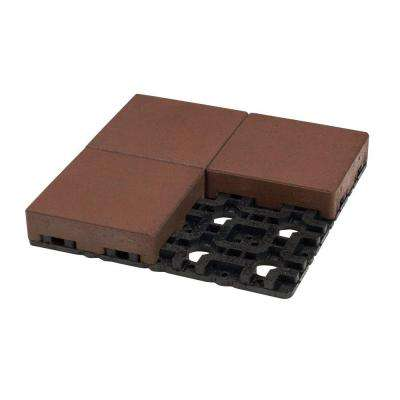 8 in. x 8 in. Redwood Composite Standard Paver Grid System (4 Pavers and 1 Grid)