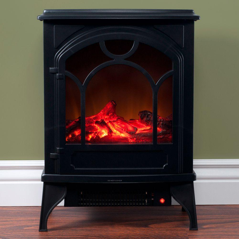 Freestanding Classic Electric Log Fireplace In Black