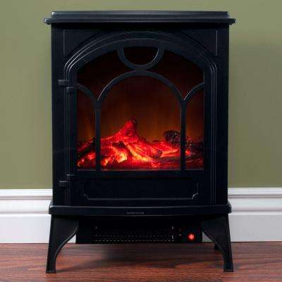 21.5 in. Freestanding Classic Electric Log Fireplace in Black