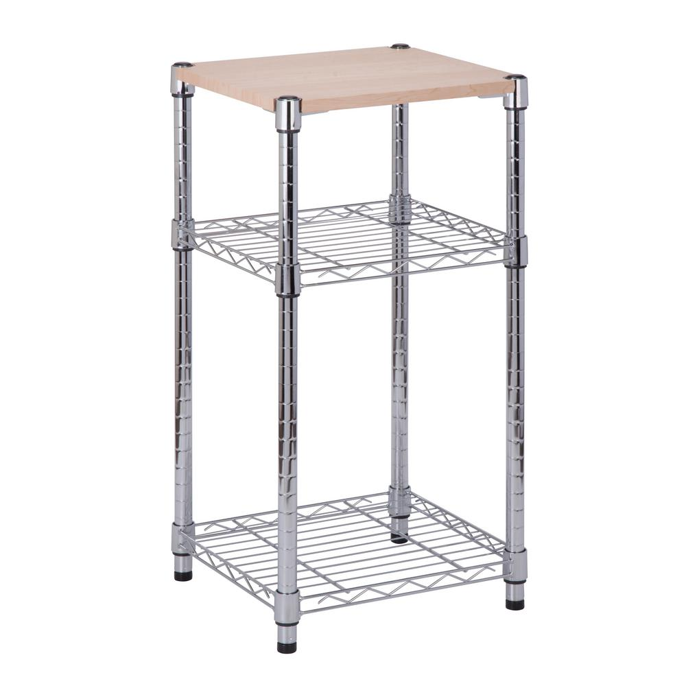 3-Tier Shelving Chrome with Wood