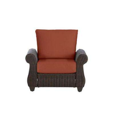 Mill Valley Brown Wicker Outdoor Patio Lounge Chair with Sunbrella Henna Red Cushions
