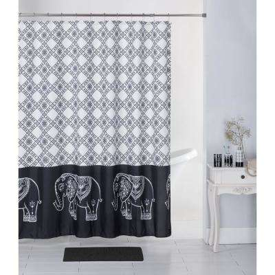 Elephant Tile Bath Rug, Ceramic Accessories and Shower Curtain Set (17-Piece)