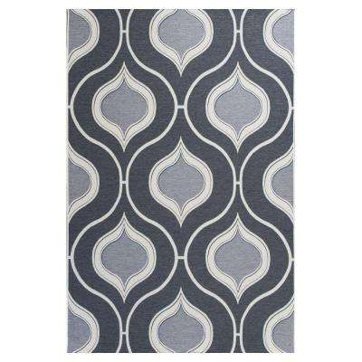 Summer Trellis Grey/Ivory 5 ft. 3 in. x 7 ft. 7 in. All-Weather Patio Area Rug