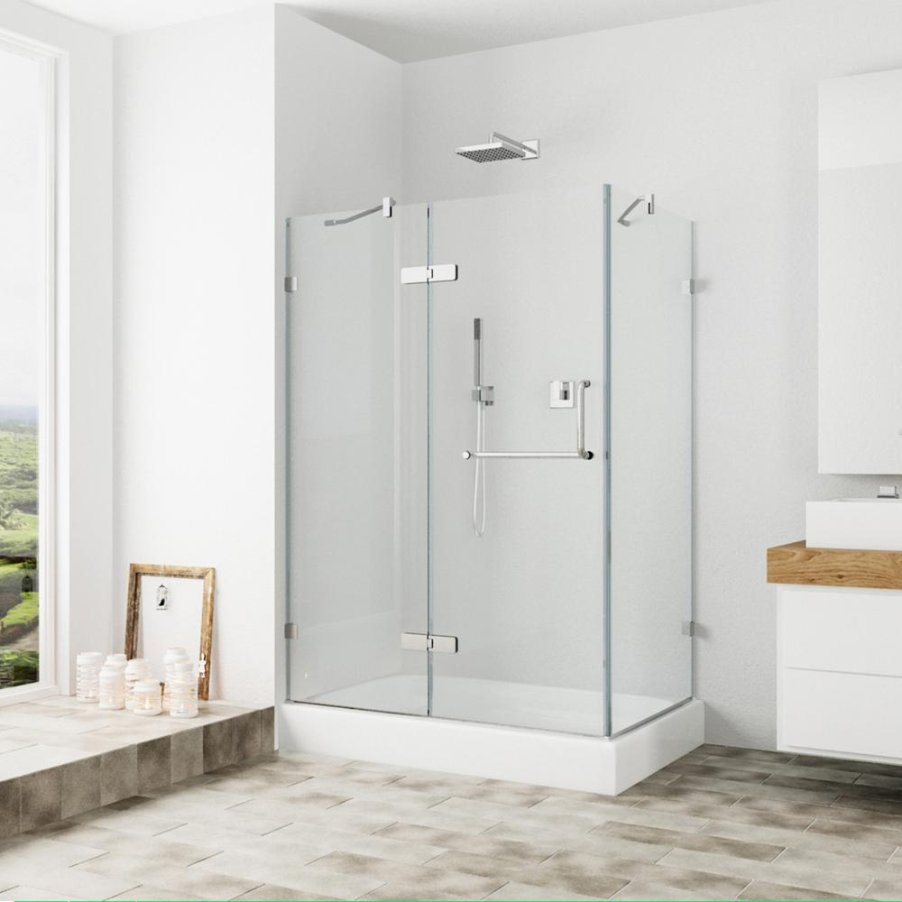 VIGO Monteray 40.25 in. x 79.25 in. Frameless Pivot Shower Door in Brushed Nickel with Clear Glass with Left Base
