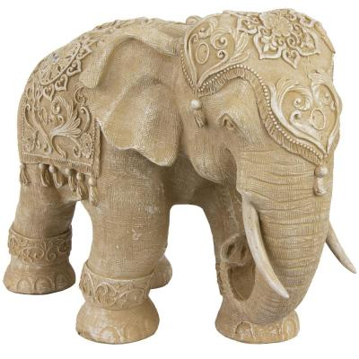 Oriental Furniture 20 in. Rustic Jeweled Elephant Decorative Statue