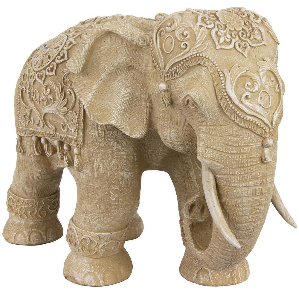 Oriental Furniture 20 in. Rustic Jeweled Elephant Decorative Statue
