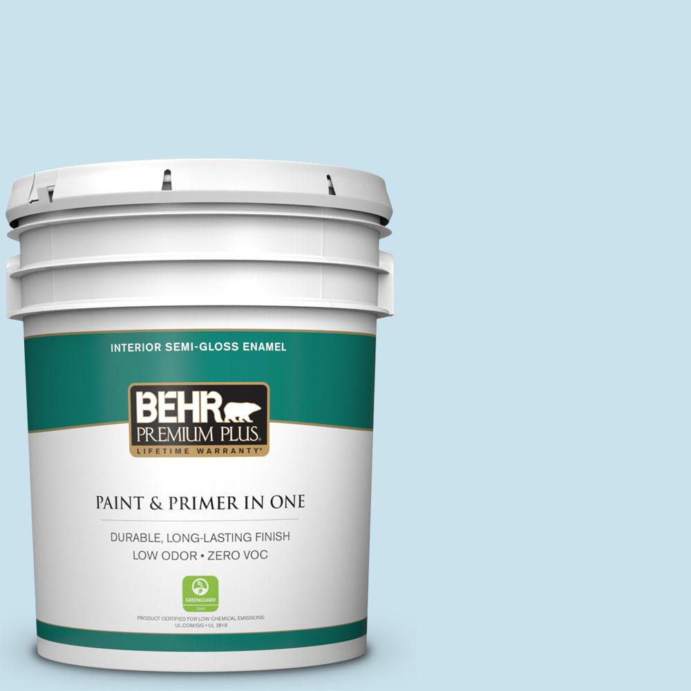 BEHR Premium Plus 5-gal. #PPL-24 Endless Sky Zero VOC Semi-Gloss Enamel Interior Paint