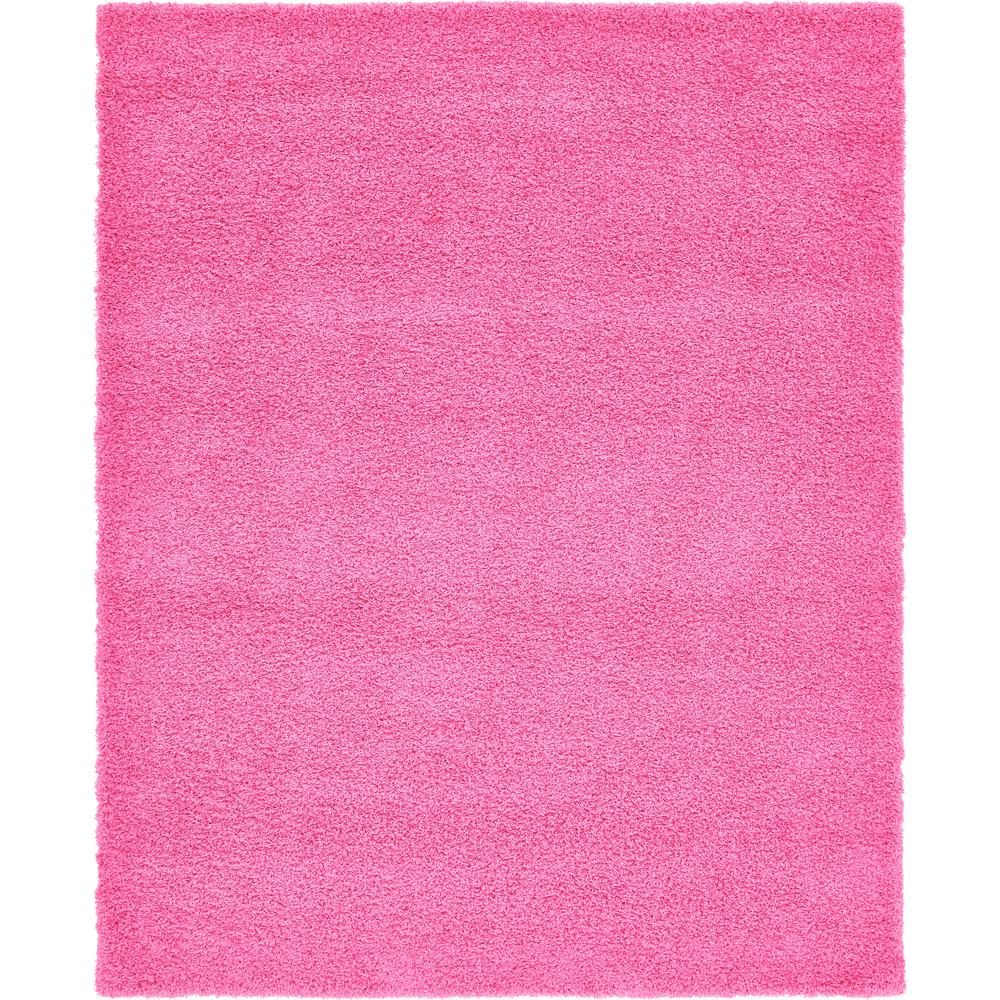Unique Loom Solid Shag Taffy Pink 8 Ft X 10 Ft Rug