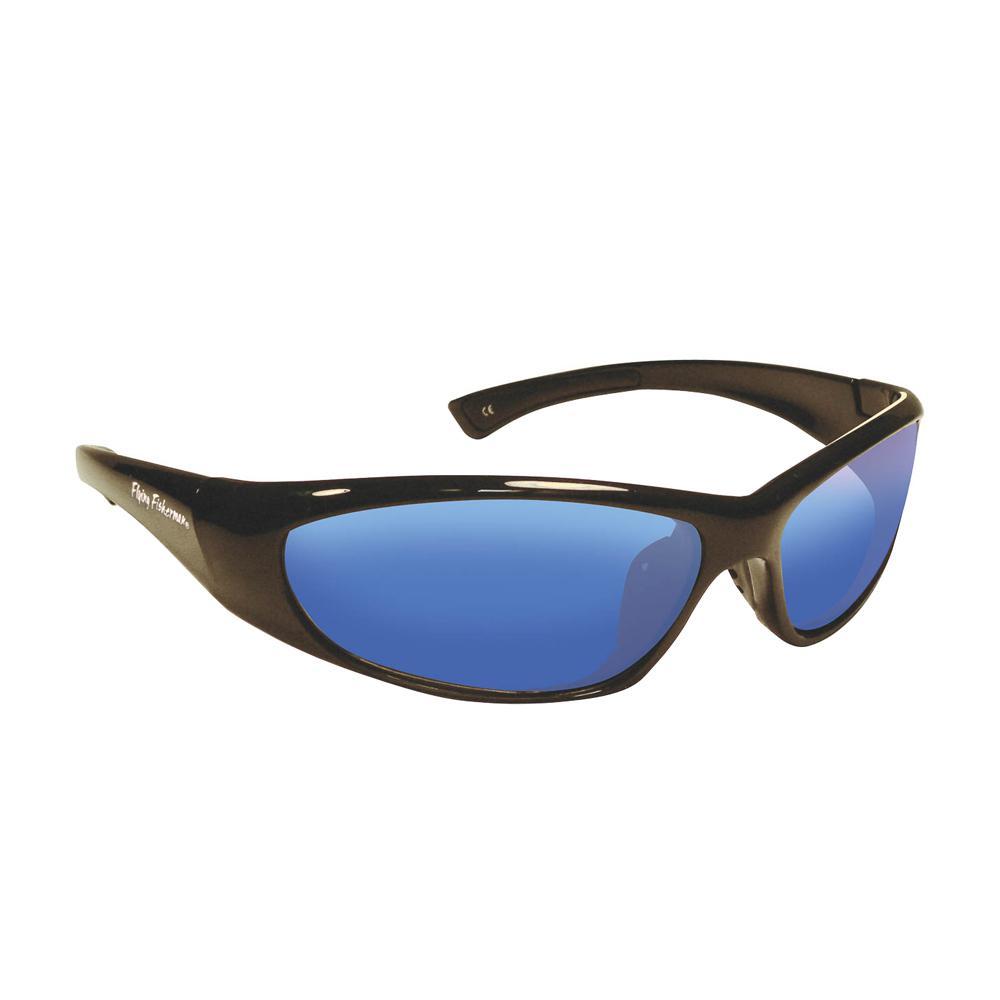 e38b4493cb Flying Fisherman Fluke Junior Angler Polarized Sunglasses Black Frame with  Smoke Blue Mirror Lens