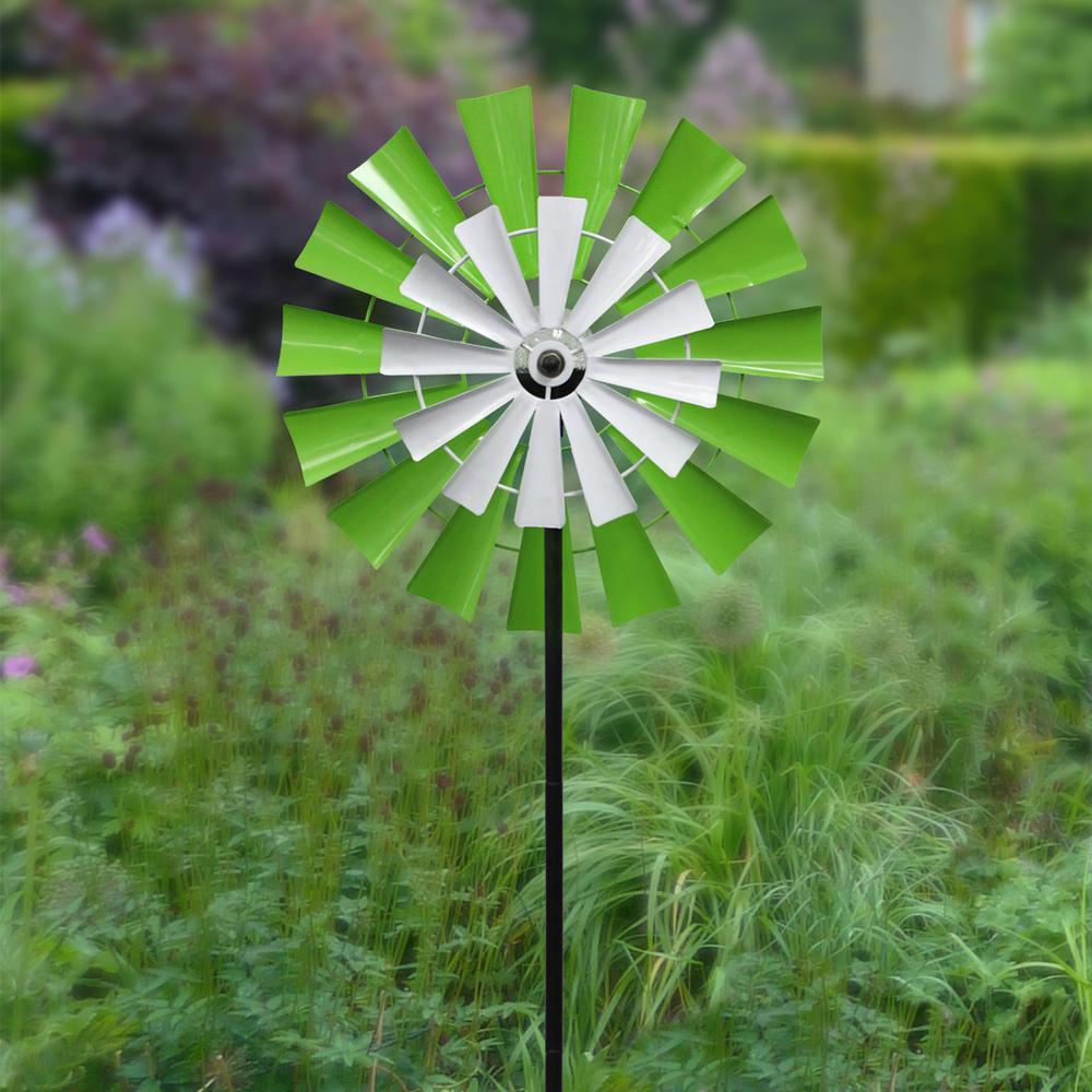 Solar 68 in. Dual Kinetic Windmill Stake with LED Light
