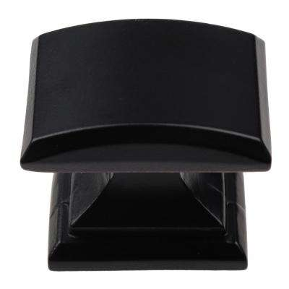 1-1/4 in. Matte Black Domed Convex Square Cabinet Knob (10-Pack)