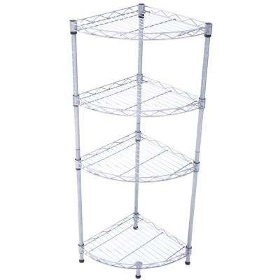 35 in. H x 12 in. W x 12 in. D 4-Tier Carbon Steel Adjustable Fan-shaped Storage Rack Shelf Organizer in Silver Gray