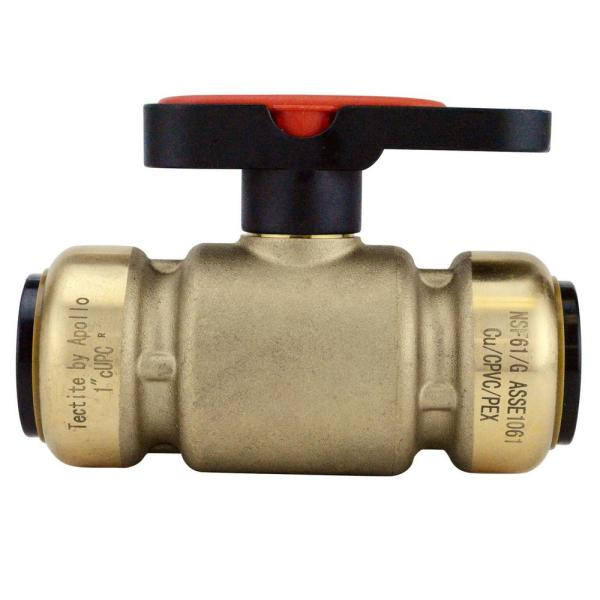 1 in. Brass Push-To-Connect Compact Ball Valve with Lockable Handle
