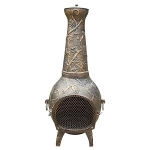 Leaf Cast Metal 53 inch Tall Chimenea with Built-in Handles, Log Grate, Spark Guard Screen on Stack and Door by