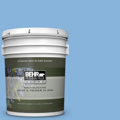 Behr Premium Plus Ultra 5 Gal 500d 4 Jamaica Bay Semi Gloss Enamel Interior Paint And Primer In One 375405 The Home Depot