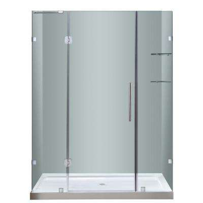 Soleil 60 in. x 77-1/2 in. Frameless Hinge Shower Door in Chrome with Glass Shelves and Center Drain Base