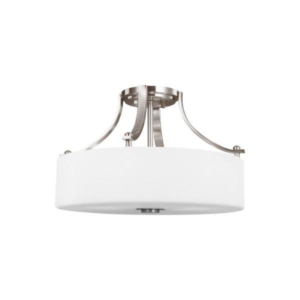 Sunset Drive 3-Light Brushed Steel Semi-Flush Mount