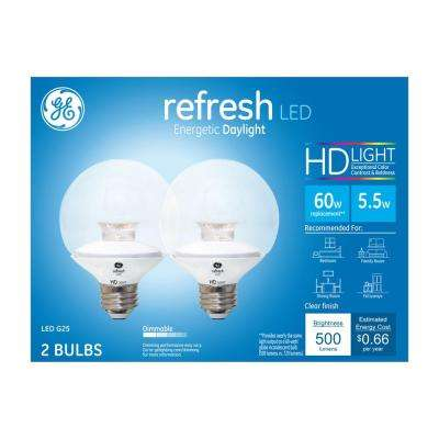 60W Equivalent Daylight (5000K) High Definition G25 Globe Clear Dimmable LED Light Bulb (2-Pack)
