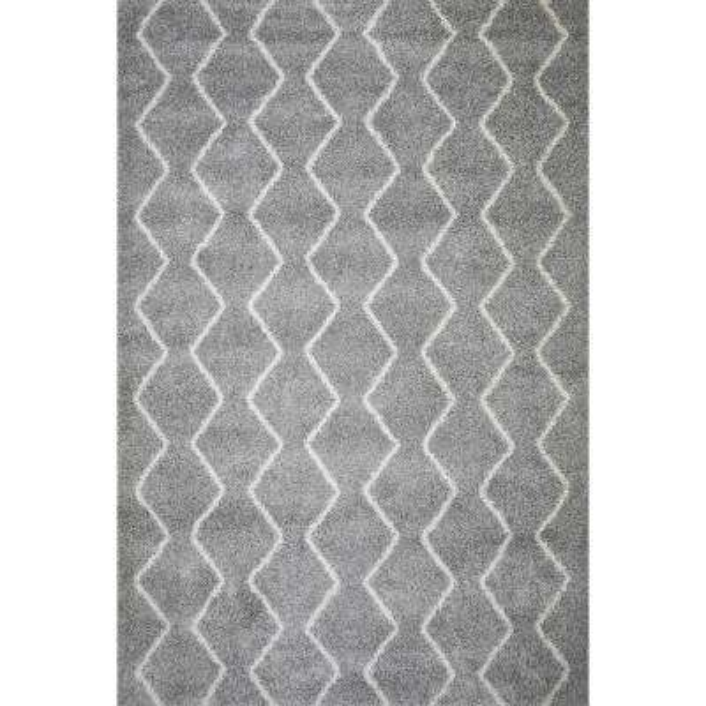 Grayson Chevron Shag Area Rug (8' x 10') in Light Grey