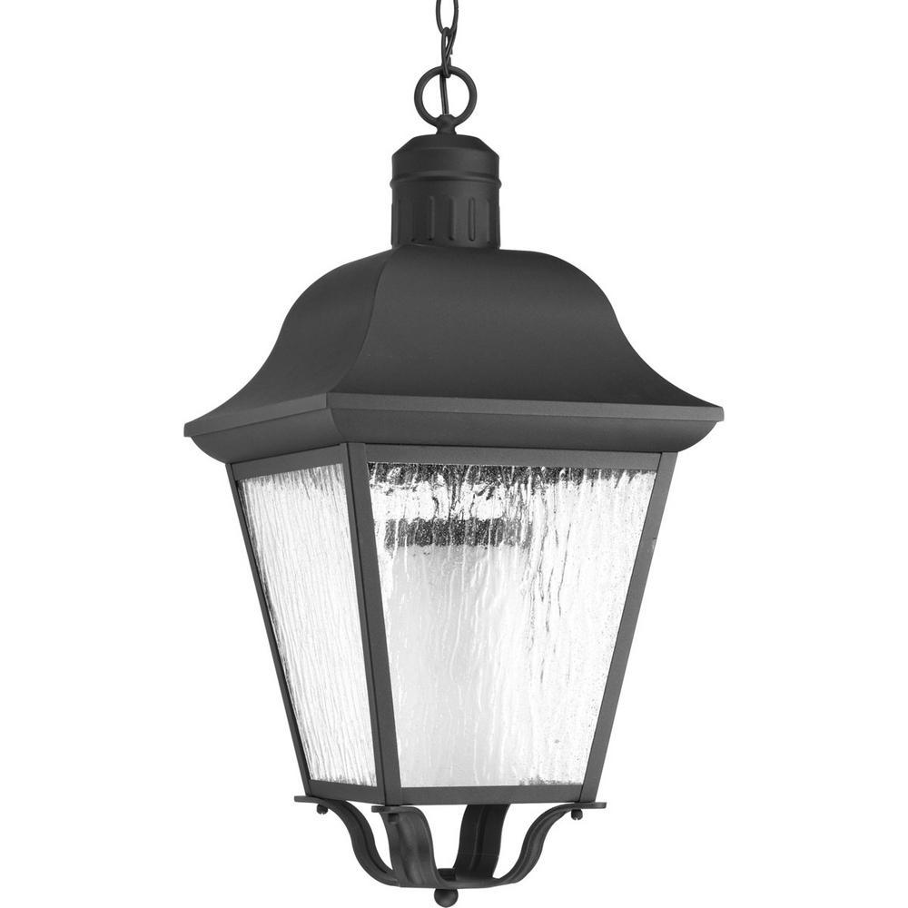 Progress Lighting Andover Collection 1-Light Outdoor Black Hanging Lantern
