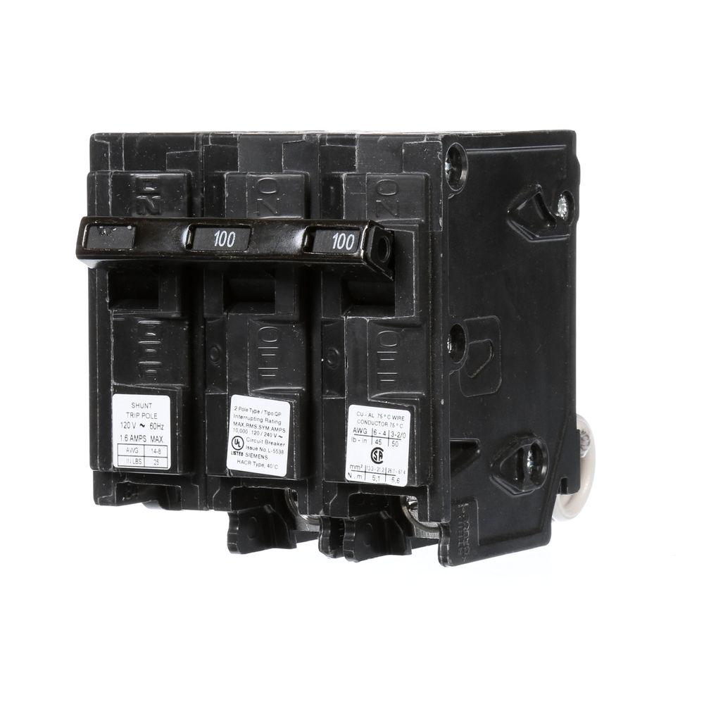 Siemens 100 Amp Double-Pole Type QP Circuit Breaker with ...