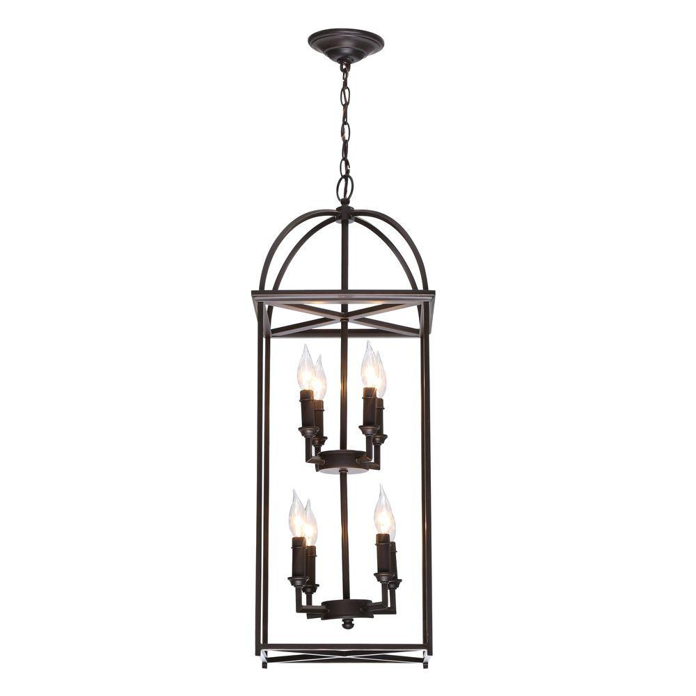 Progress Lighting Piedmont Collection 8 Light Antique Bronze Foyer Pendant