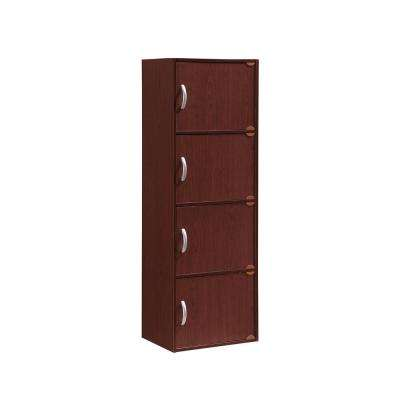 4-Shelf, 47 in. H Mahogany Bookcase with Doors