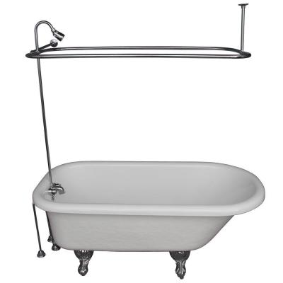 5 ft. Acrylic Ball and Claw Feet Roll Top Tub in White with Polished Chrome Accessories