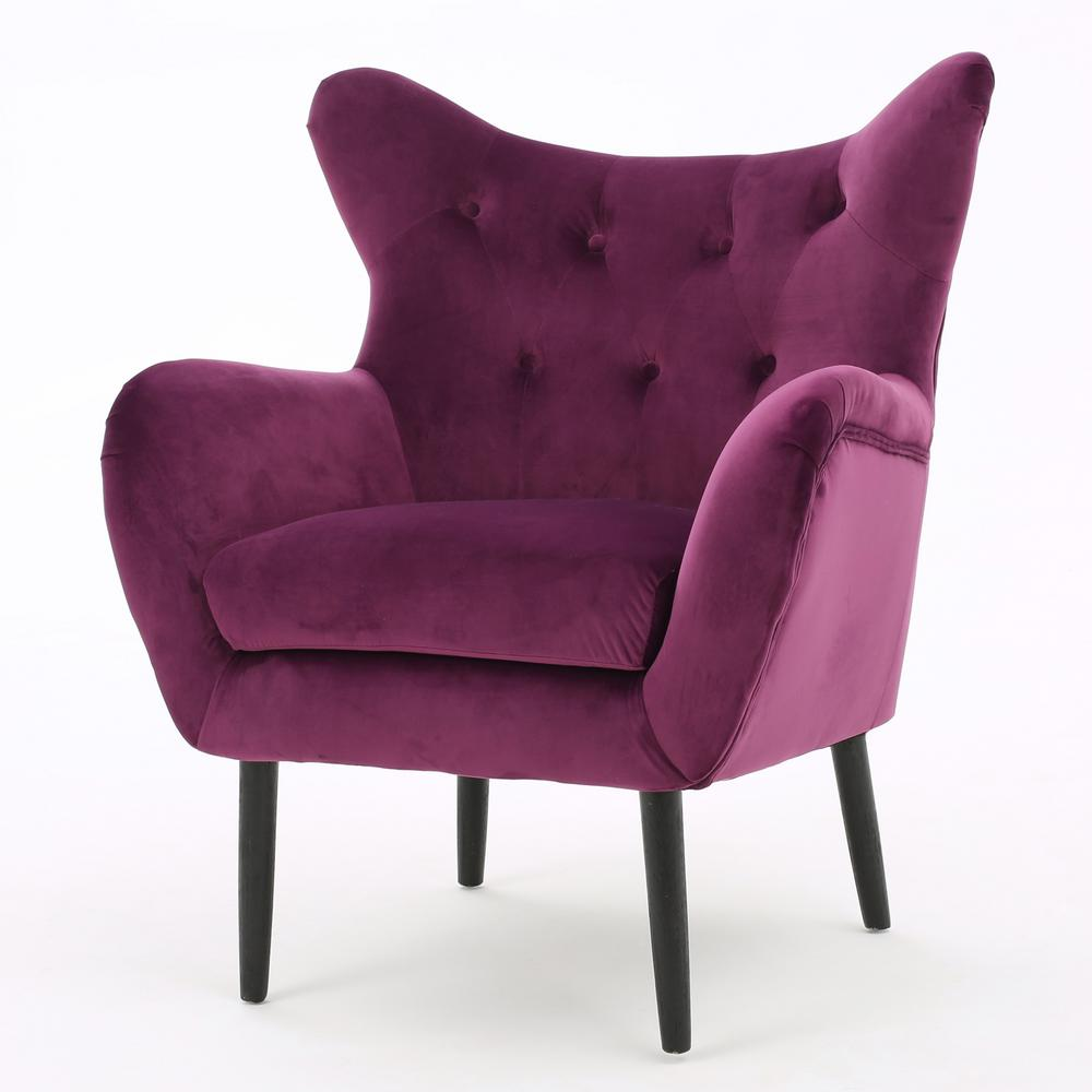 Noble house seigfried fuchsia new velvet tufted arm chair 298851 the home depot
