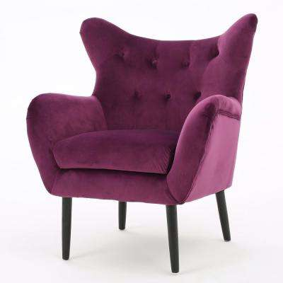 Seigfried Fuchsia New Velvet Tufted Arm Chair
