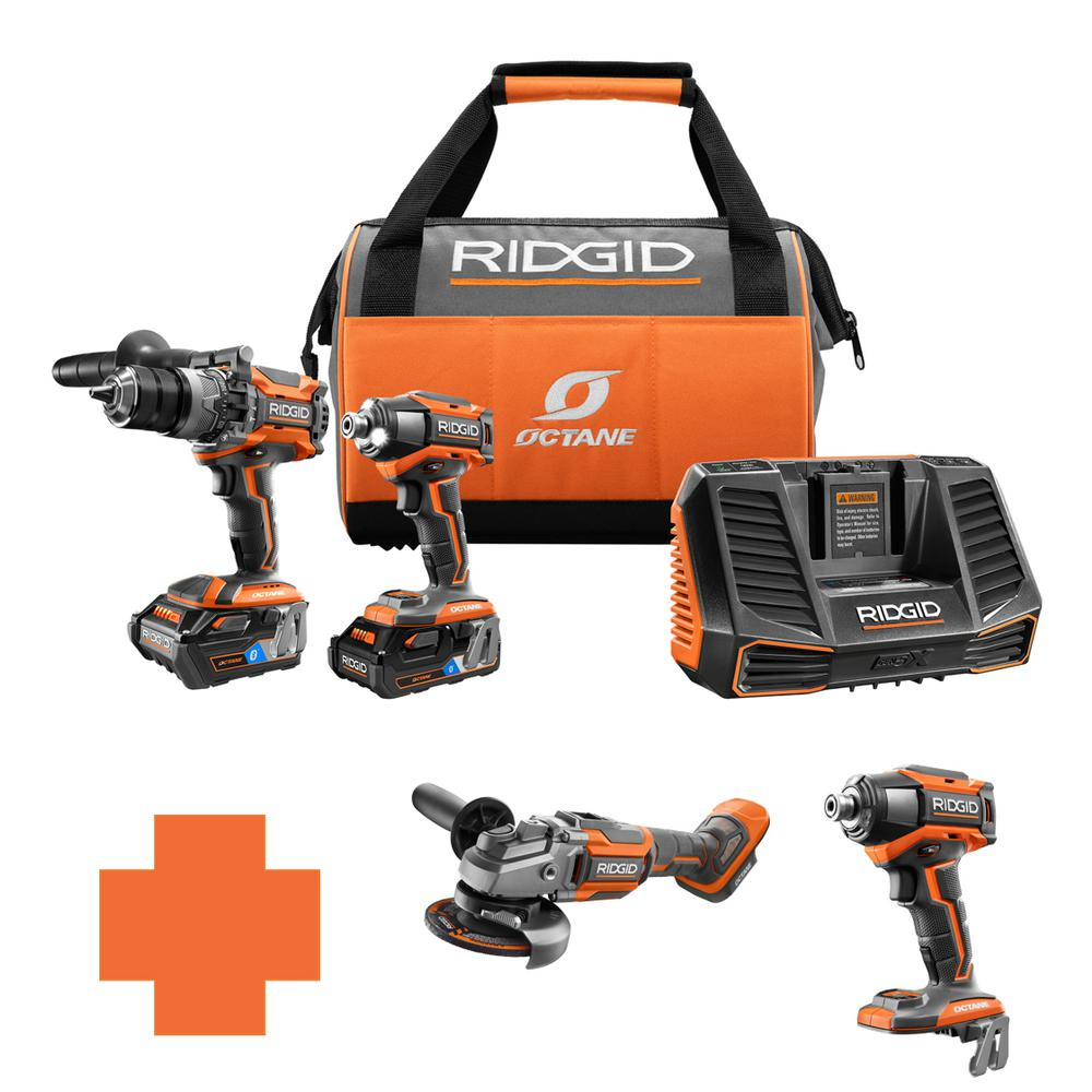 RIDGID 18-Volt OCTANE Lithium-Ion Cordless Brushless Combo Kit w/Bonus 4-1/2 in. Angle Grinder & 6-Mode 1/4 in. Impact Driver